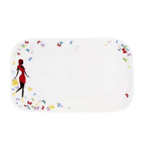 Plat rectangulaire 30 cm Belle de Jour en porcelaine