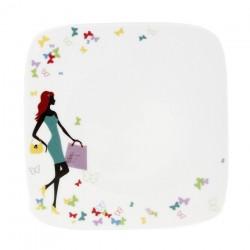 Assiette plate carrée 19 cm Jolie Demoiselle en porcelaine