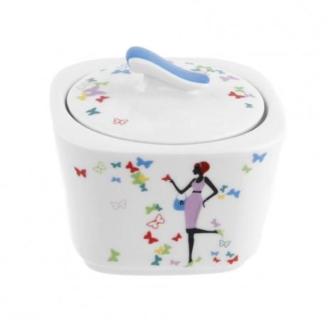Sucrier carré 300 ml Belle de Jour en porcelaine
