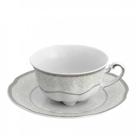 Tasse à café/thé 220 ml en porcelaine avec soucoupe Fleur d'olivier