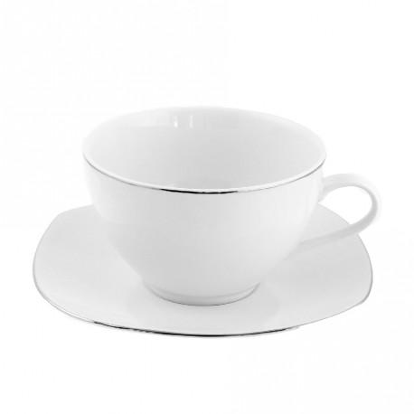 Tasse à thé 400 ml avec soucoupe Bergenia en porcelaine
