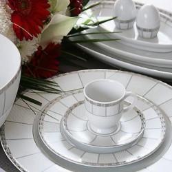 Service de table 24 pièces en porcelaine Vague de Neige
