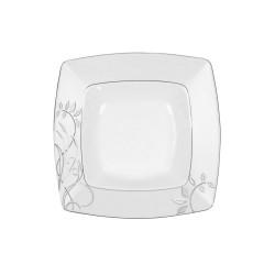 Assiette creuse carrée 21,5 cm Camélia en porcelaine blanche