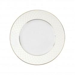 Assiette à aile plate ronde 21.5 cm L'or du Temps en porcelaine