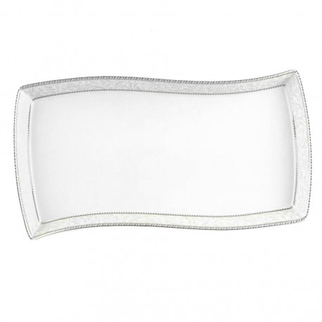 Plat rectangulaire 35 cm Astilbe en porcelaine