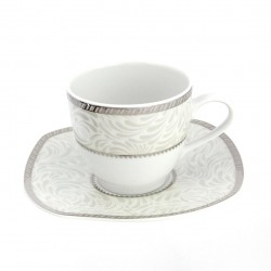 Tasse 200 ml avec soucoupe Astilbe Royal en porcelaine blanche