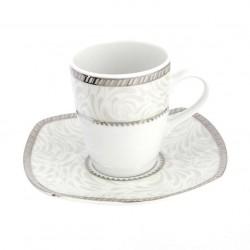Tasse 100 ml avec soucoupe Astilbe Royal en porcelaine blanche