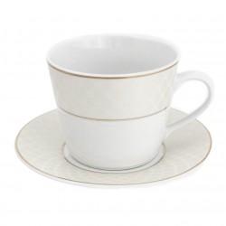 Tasse petit déjeuner 400 ml avec soucoupe L'or du temps en porcelaine