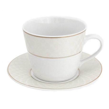 Tasse petit déjeuner 400 ml avec soucoupe en porcelaine