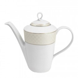 Théiere 1100 ml en porcelaine blanc avec filet d'or