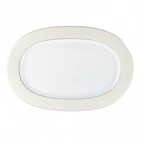 Plat ovale 33 cm en porcelaine, service de table complet en porcelaine blanc avec liseré doré