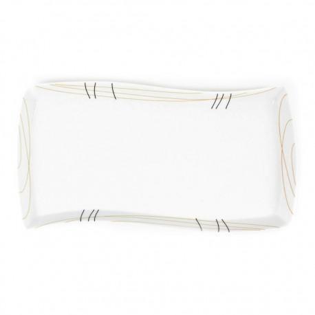 Plat rectangulaire ondulé 35 cm Aubépine en porcelaine