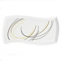 Plat rectangulaire ondulé 32 cm Fleur de Bois en porcelaine