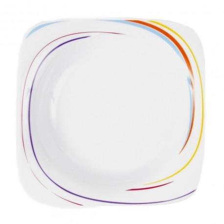 Assiette creuse carrée 20,5 cm Tourbillon Fruité en porcelaine