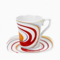 Tasse à café 100 ml avec soucoupe Spirée en porcelaine