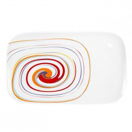 Plat rectangulaire 30 cm Spirée en porcelaine