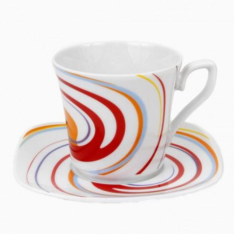 Tasse à thé 220 ml avec soucoupe Tourbillon Fruité en porcelaine