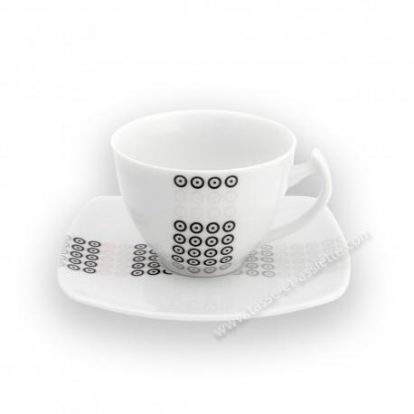 Tasse à café 90 ml avec soucoupe Sparaxis en porcelaine
