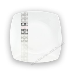 Assiette plate carrée 25,5 cm (30,5 cm diag) Mandalas en porcelaine