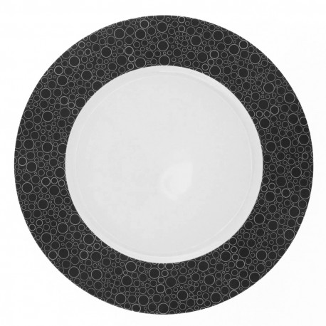 Assiette plate ronde à aile 27 cm Black or White en porcelaine