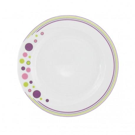 Assiette 20.5 cm plate ronde en porcelaine blanche - Bulle Pastel