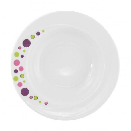 Assiette 23 cm ronde creuse en porcelaine blanche - Bulle Pastel