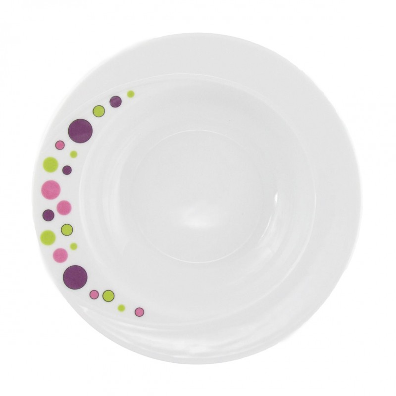 assiette blanche ronde creuse en porcelaine blanche 23 cm bulle pastel. Black Bedroom Furniture Sets. Home Design Ideas