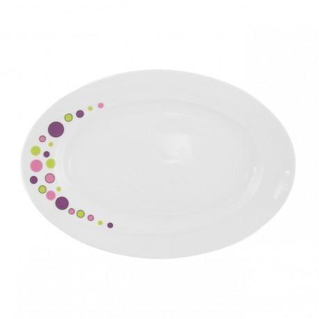 Plat 29 cm ovale en porcelaine blanche - Bulle Pastel