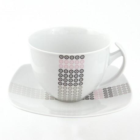 Tasse à thé 400 ml avec soucoupe Mandalas en porcelaine