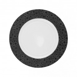 Assiette plate ronde dessert 21 cm Black or White en porcelaine