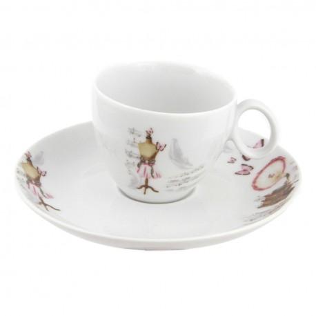 Tasse à café 100 ml avec soucoupe Symphonie des Papillons en porcelaine
