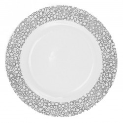 Plat rond 32 cm Black or White en porcelaine