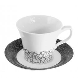 Tasse à thé 200 ml avec soucoupe Black or White en porcelaine blanche