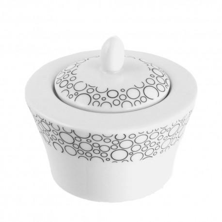 Sucrier 200 ml avec couvercle Black or White en porcelaine blanche