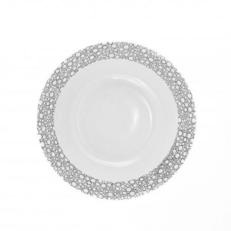 Saladier rond 26 cm Black or White en porcelaine blanche