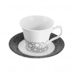 Tasse à café 100 ml avec soucoupe Black or White en porcelaine blanche
