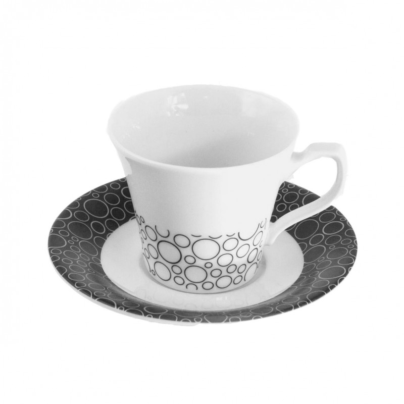 tasse caf 100 ml avec soucoupe black or white en porcelaine blanche. Black Bedroom Furniture Sets. Home Design Ideas