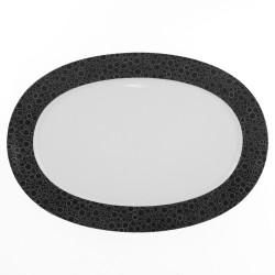 Plat ovale 38 cm Black or White en porcelaine