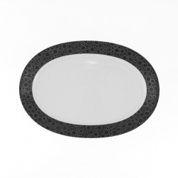 Plat ovale 28 cm Black or White en porcelaine