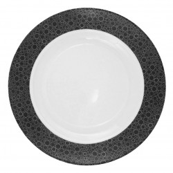 Plat rond creux 29 cm Black or White en porcelaine