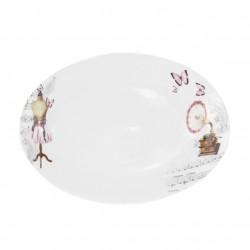 Plat ovale 29 cm Symphonie des Papillons en porcelaine