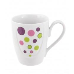 Mug 350 ml avec soucoupe en porcelaine Bulle pastel