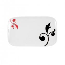 Plat rectangulaire 30,5 cm Baroque en porcelaine blanche décorée