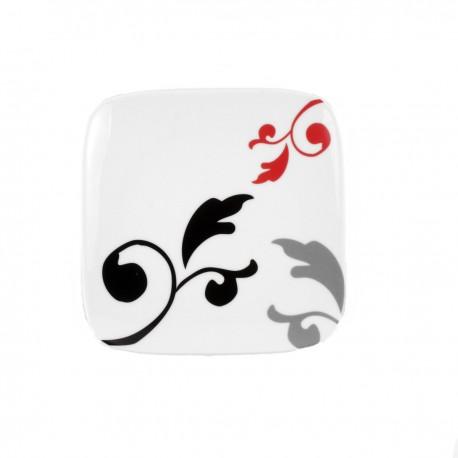 Assiette plate carrée 19 cm Hélianthème en porcelaine