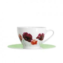 Tasse à thé 280 ml avec soucoupe ronde Au pays des Coquelicots en porcelaine blanche
