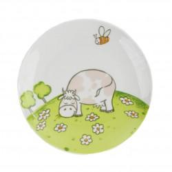 Assiette plate 19 cm Vache Jonquille en porcelaine motif vache