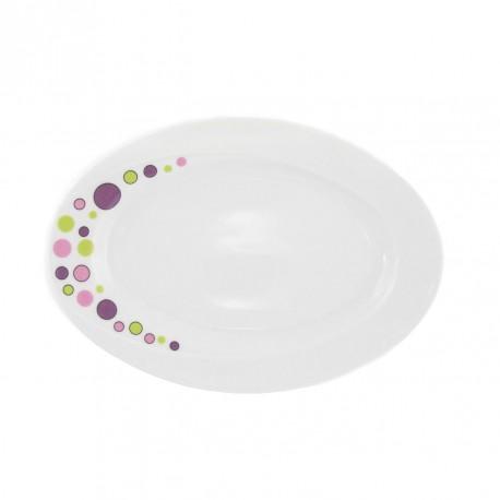 Ravier 24 cm en porcelaine blanche Bulle Pastel
