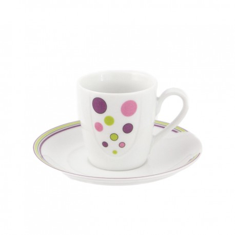 Tasse à café 100 ml avec soucoupe en porcelaine Bulle pastel