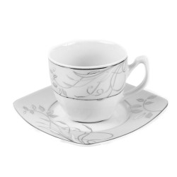Tasse à thé 200 ml avec soucoupe carrée Camélia en porcelaine blanche