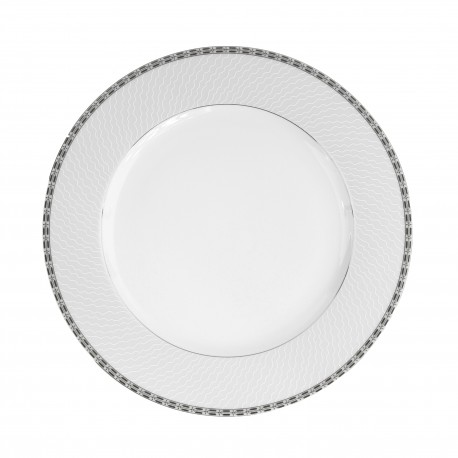 Plat rond à aile 32 cm Vague mousseuse en porcelaine